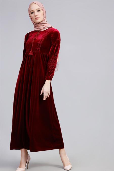 Refka Bordo Nakışlı Kadife Elbise