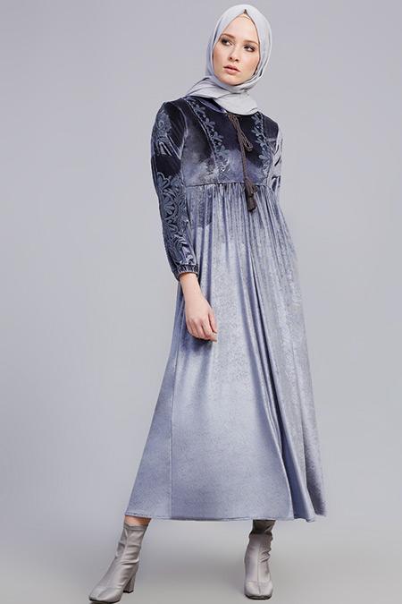 Refka Gri Nakışlı Kadife Elbise
