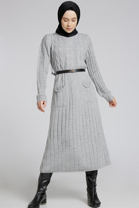 Refka Gri Triko Elbise