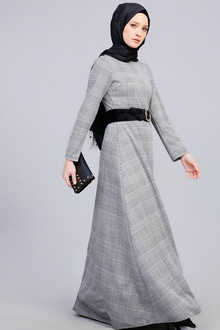 Refka Siyah Beyaz Desenli Elbise