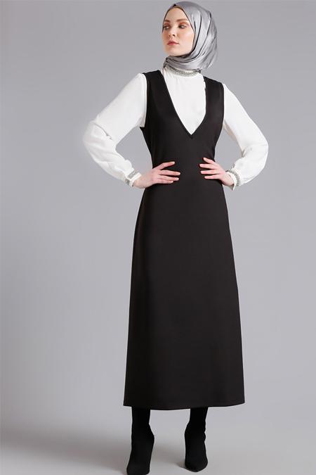 Refka Siyah Kolsuz V Yakalı Elbise