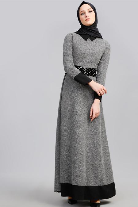 Refka Siyah Süet Detaylı Garnili Elbise