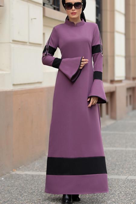 Selma Sarı Design Lila Volan Kol Nilay Elbise