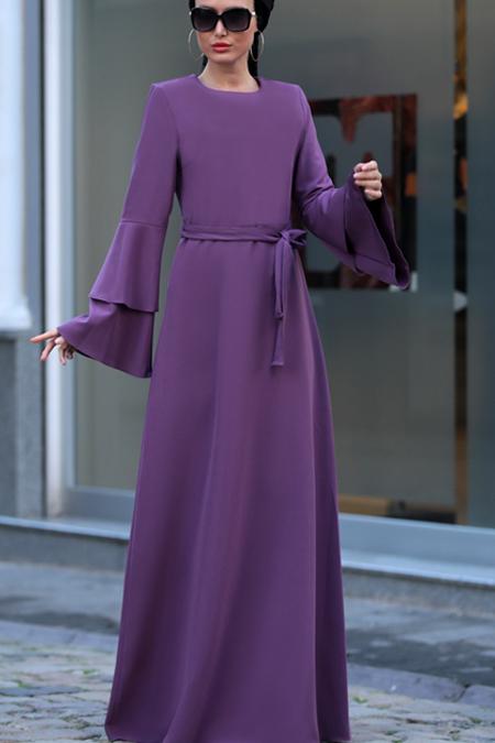 Selma Sarı Design Lila Volanlı Işık Elbise