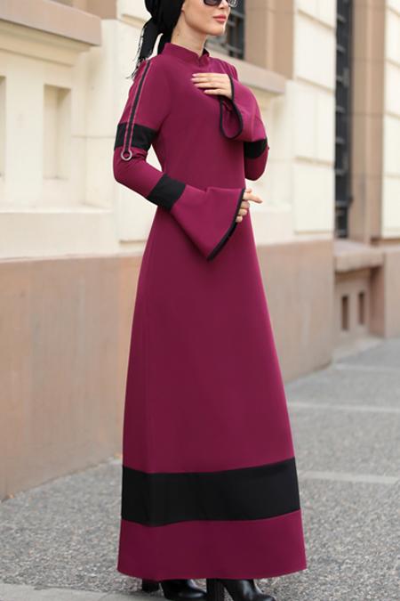 Selma Sarı Design Mürdüm Volan Kol Nilay Elbise
