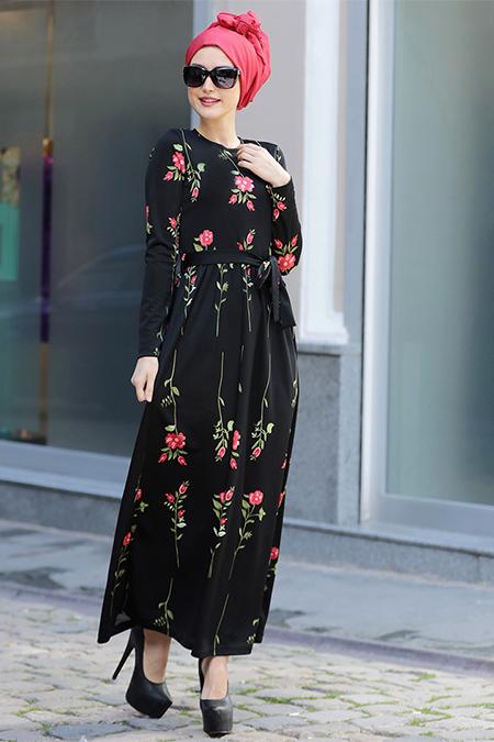 Selma Sarı Design Siyah Gonca Elbise