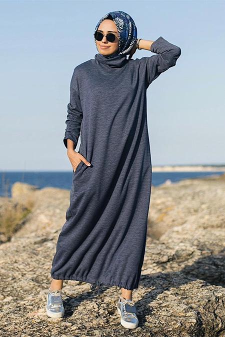 Qooq Store Lacivert Büzgülü Elbise