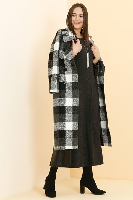 Alia Antrasit Deri Detaylı Elbise
