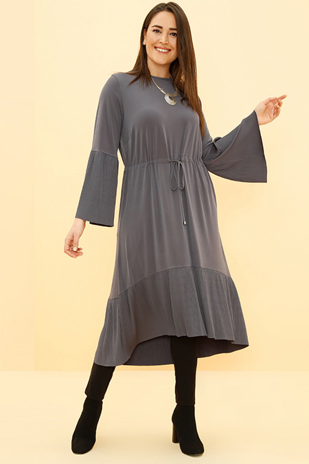 Alia Antrasit Plise Detaylı Beli Bağcıklı Tunik Elbise