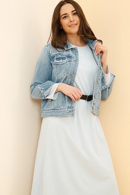 Alia Bebe Mavisi Doğal Kumaşlı Basic Elbise