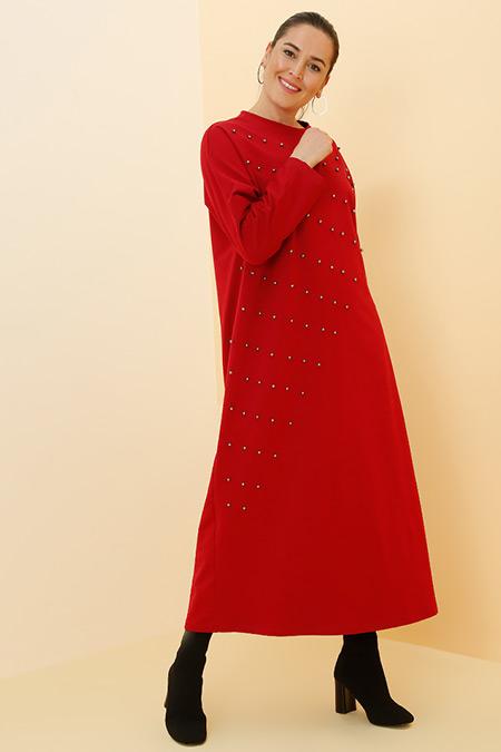 Alia Bordo İncili Elbise