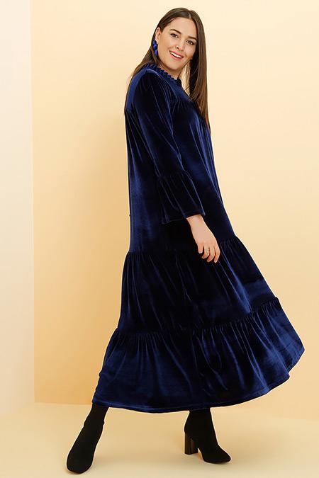 Alia Lacivert Kadife Elbise