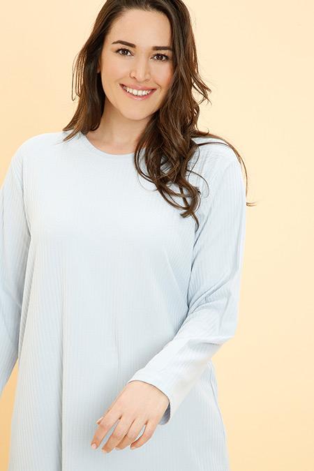 Alia Mavi Doğal Kumaşlı Basic Tunik