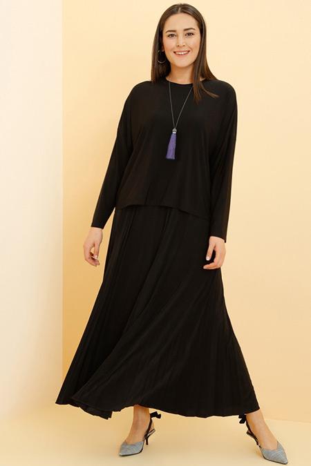 Alia Siyah Bluz Etek İkili Takım