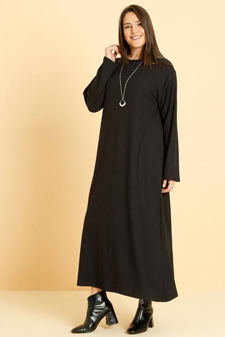 Alia Siyah Doğal Kumaşlı Basic Elbise