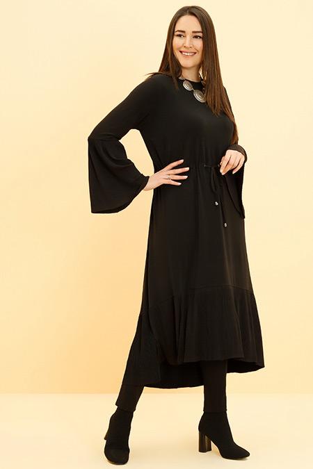 Alia Siyah Plise Detaylı Beli Bağcıklı Tunik Elbise