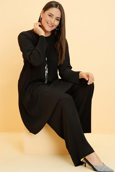 Alia Siyah Tunik Pantolon İkili Takım
