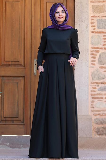 An Nahar Siyah Gülce Elbise