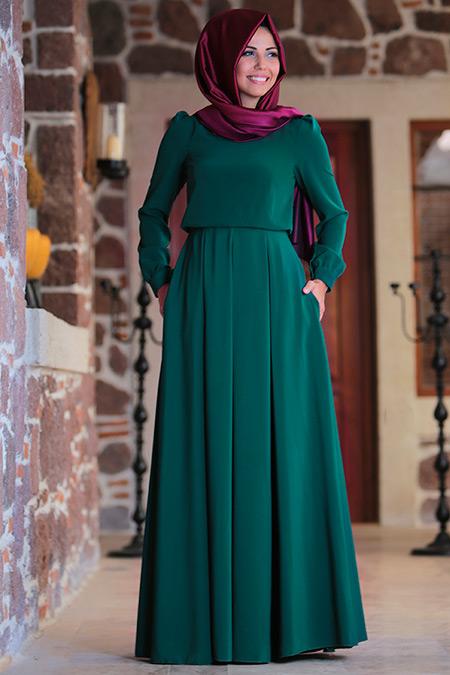 An Nahar Yeşil Gülce Elbise