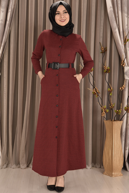 Bordo Boydan Düğmeli Kazayağı Elbise