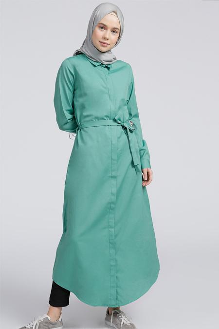 Everyday Basic Yeşil Gizli Düğmeli Uzun Tunik