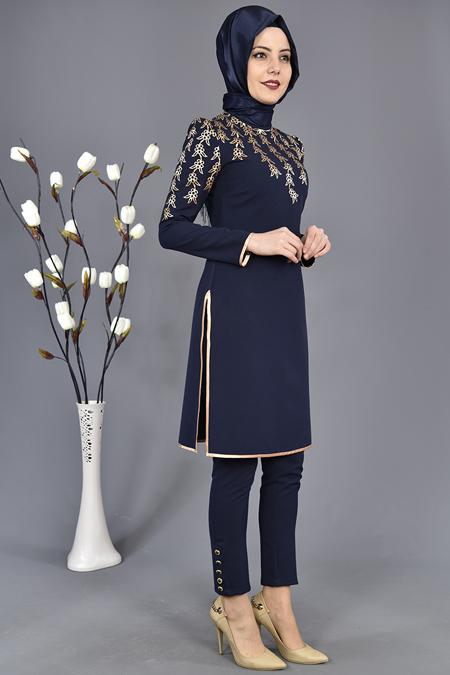 Lacivert Gold Aplikli Pantolon Tunik İkili Kombin