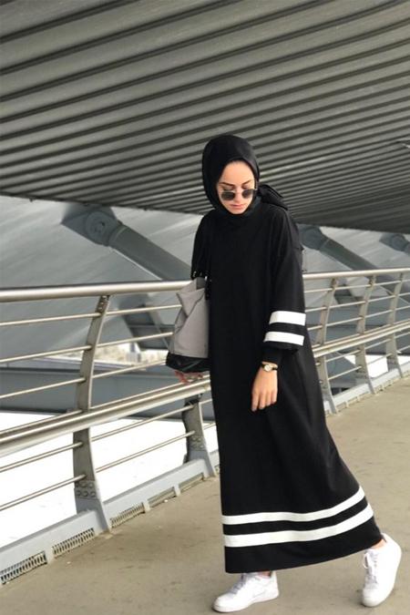 Kefta Design Şeritli Siyah Elbise