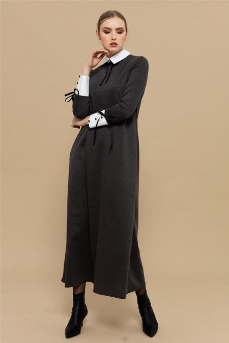 Merve Dağlı Gri Betty Elbise