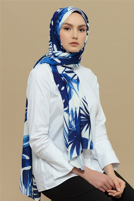 Merve Dağlı Mavi Desenli Yaprak Şal