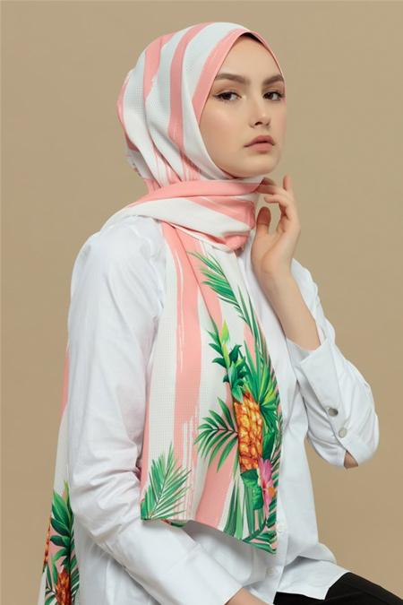 Merve Dağlı Pembe Ananas Desenli Şal
