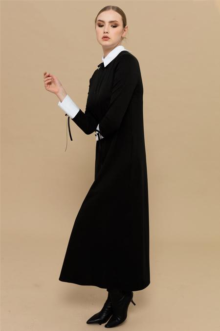 Merve Dağlı Siyah Betty Elbise