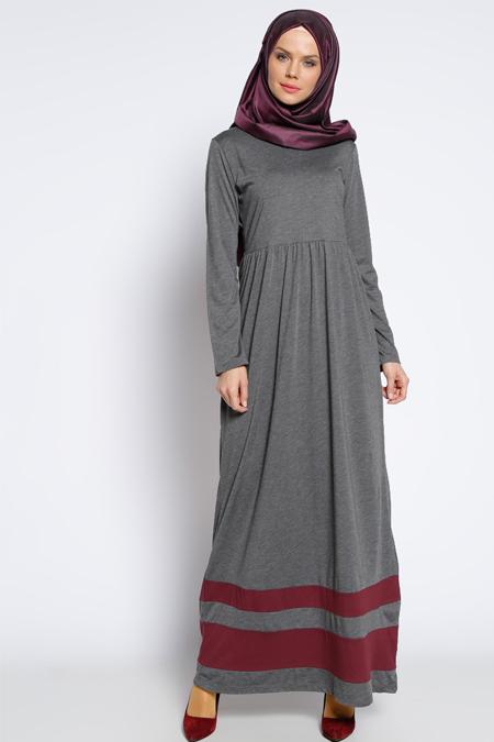 Muni Muni Antrasit Eteği Garnili Elbise