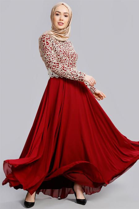 Refka Bordo Güpürlü Abiye Elbise