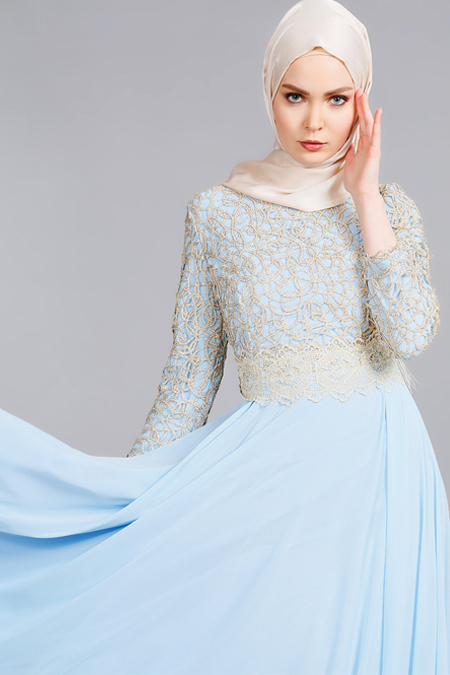 Refka Buz Mavi Güpürlü Abiye Elbise