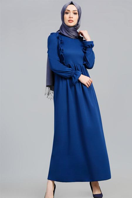 Refka Saks Fırfır Detaylı Elbise