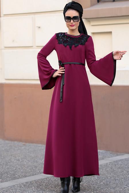Selma Sarı Design Fuşya Yaka Detaylı Elbise