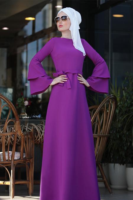Selma Sarı Design Mor Volanlı Işık Elbise