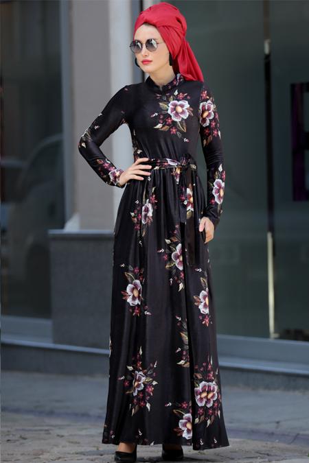 Selma Sarı Design Siyah Kadife Elbise