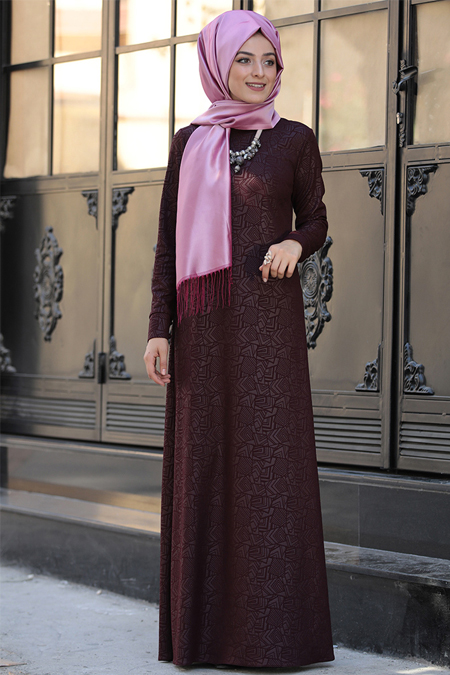 Zehrace Bordo Jakarlı Elbise