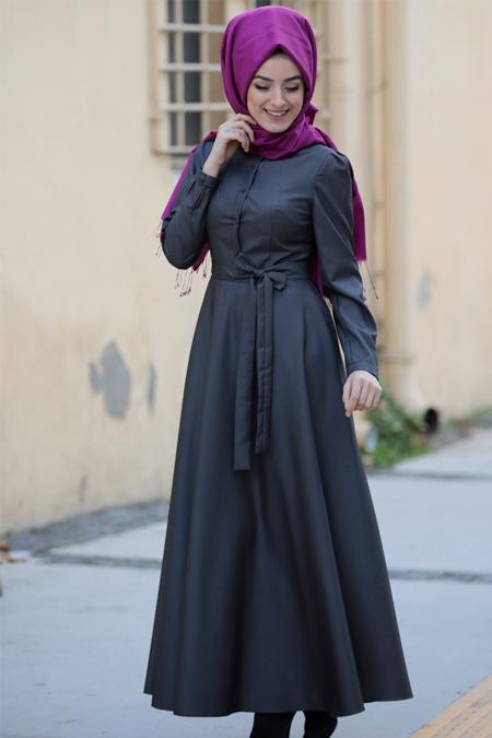 Zehrace Füme Düğme Detaylı Kuşaklı Elbise