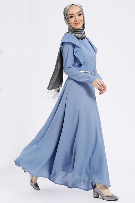 Zehrace Mavi Volanlı Elbise