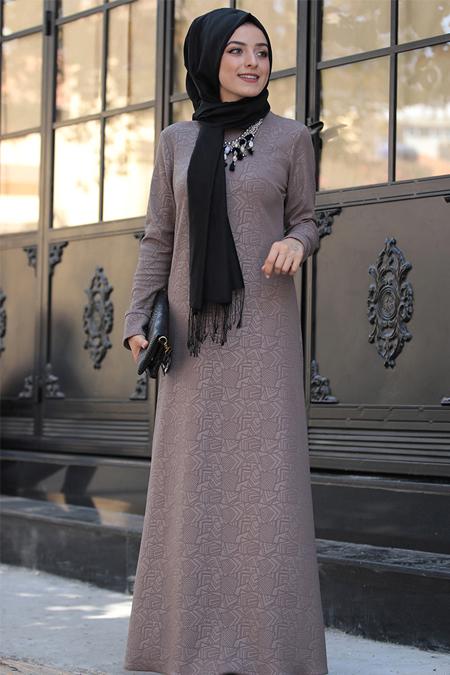 Zehrace Vizon Jakarlı Elbise