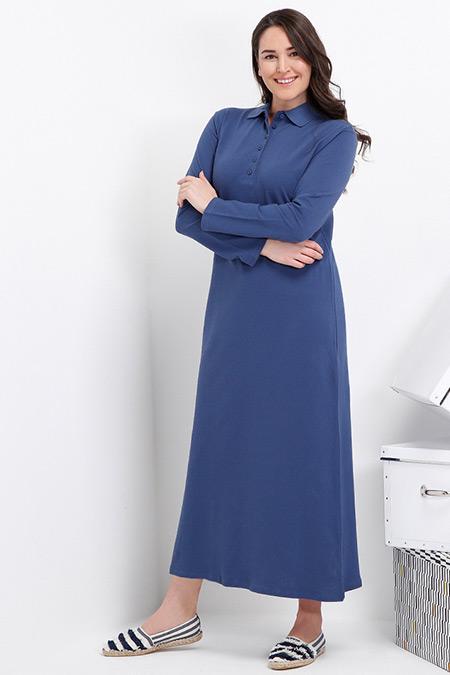 Alia İndigo Doğal Kumaşlı Spor Elbise