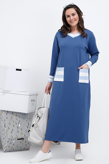 Alia İndigo Garnili Elbise