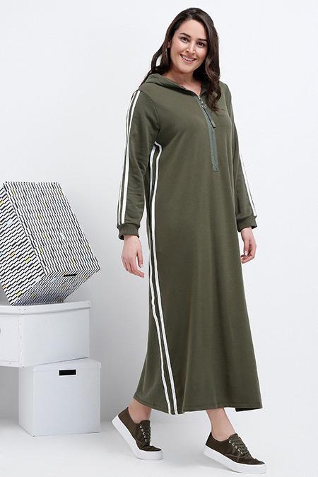Alia Haki Ekru Doğal Kumaşlı Fermuar Detaylı Elbise