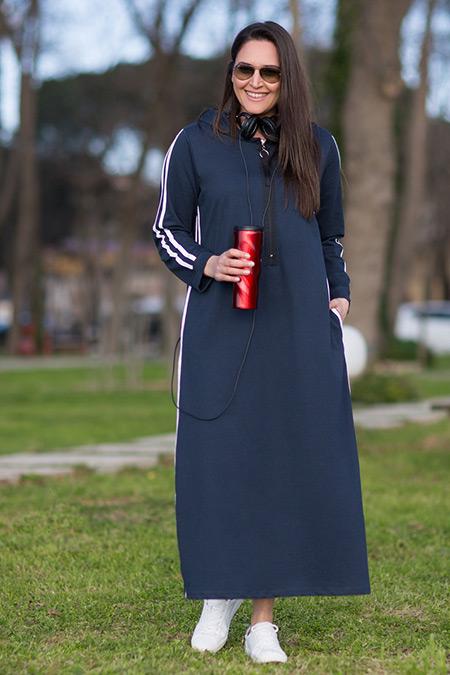 Alia Lacivert Ekru Doğal Kumaşlı Fermuar Detaylı Elbise