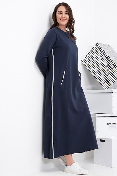 Alia Lacivert Gri Doğal Kumaşlı Cepli Spor Elbise