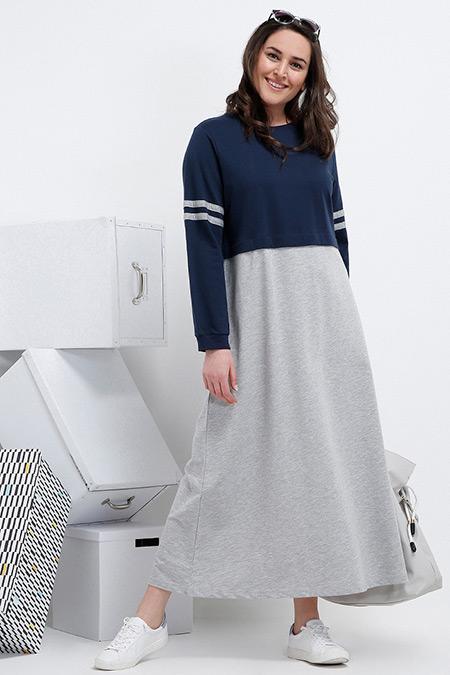 Alia Lacivert Gri Doğal Kumaşlı Garnili Spor Elbise