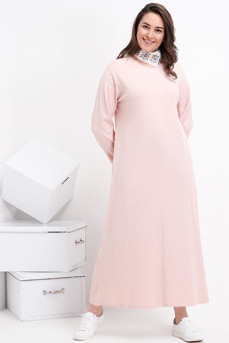 Alia Pudra Doğal Kumaşlı Basic Elbise