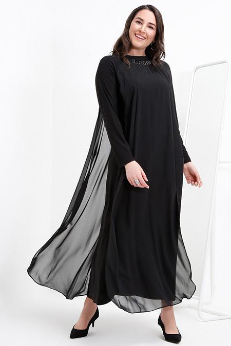 Alia Siyah Şifon Parçalı Abiye Elbise